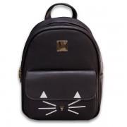 Girl Black Leather Metal Nose Cute Cat Backpack mc370 PK2
