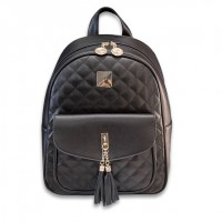 Girl Black Leather Tassle Quilted Texture Backpack MC371 PK2