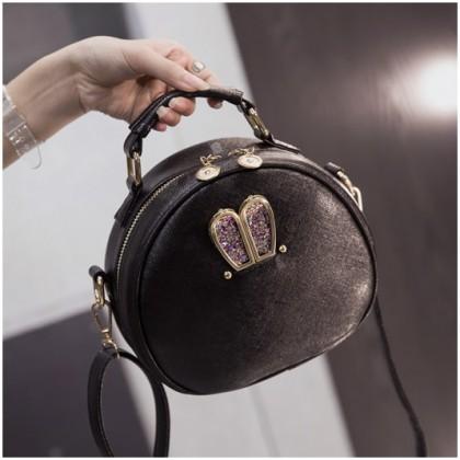 Girl Black Leather Glitter Blink Rabbit Decoration Sling Bag MC372 RA7