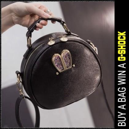 Girl Black Leather Glitter Blink Rabbit Decoration Sling Bag MC372