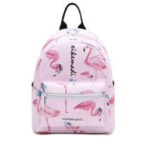 Girl Pinky Flamingo Design Quality Leather Tredning Backpack MC349 YM1