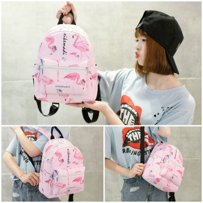 Girl Pinky Flamingo Design Quality Leather Tredning Backpack MC349 RA3
