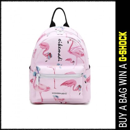 Girl Pinky Flamingo Design Quality Leather Tredning Backpack MC349