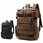 Unisex Coffee / Black Canvas Multiple Pocket Durable Daily Backpack mc347 FK2 (Free Gift)
