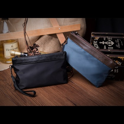 Man Black Blue Quality Nylon Mix Leather Hand Carry Envelope Bag MC375 LC1