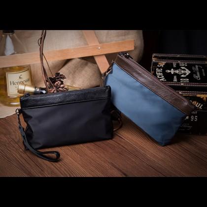 MC375 Man Black Blue Quality Nylon Mix Leather Hand Carry Envelope Bag