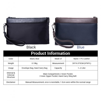 MC375 Man Black Blue Quality Nylon Mix Leather Hand Carry Envelope Bag
