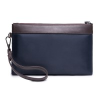 Man Dark Blue Quality Nylon Mix Leather Hand Carry Envelope Bag MC375 E1 (Free Gift)