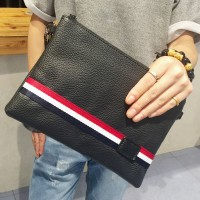Man Cambridge Style Elegant Black Leather Hand Carry Envelope Bag MC376 G4 (Free Gift)