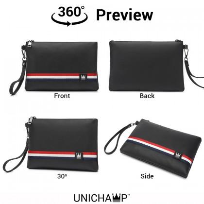 [Unichamp] MC376 Man Cambridge Style Elegant Black Leather Hand Carry Envelope Bag