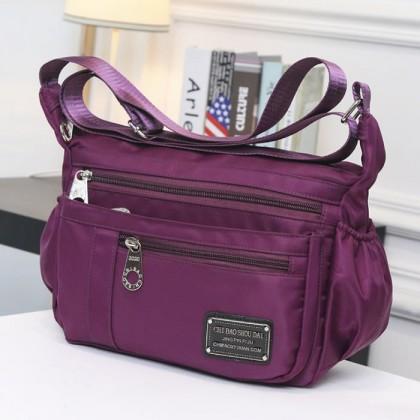 Woman MultiColor Multiple Pockets Convenient Durable Light Weight Nylon Sling Bag MC346