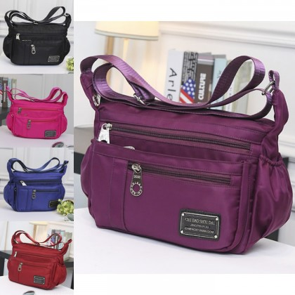 Woman MultiColor Multiple Pockets Convenient Durable Light Weight Nylon Sling Bag MC346 RB1