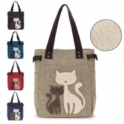 Woman MultiColor Convenient Durable Canvas Cute Kitty Wool Shoulder Bag MC377 RA3