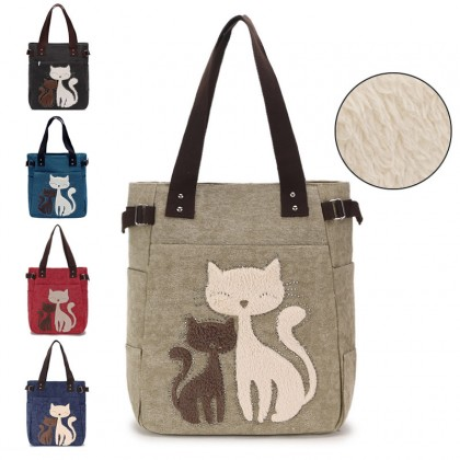 Woman MultiColor Convenient Durable Canvas Cute Kitty Wool Shoulder Bag MC377 RA5