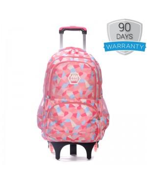 Girl Colorful Heavy Duty Nylon Large Capacity 6 Wheel Trolley Backpack MC350 RA3
