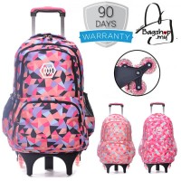 Girl Colorful Heavy Duty Nylon Large Capacity 6 Wheel Trolley Backpack MC350 RB6