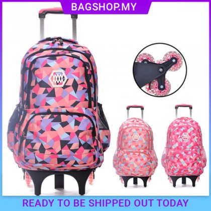 MC350 Girl Colorful Heavy Duty Nylon Large Capacity 6 Wheel Trolley Backpack