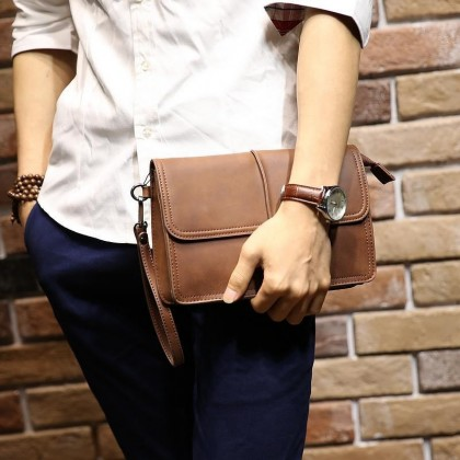 PP383 Man Classic Brown Cool Leather Hand Carry Clutch Bag