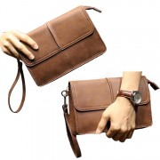 Man Classic Brown Cool Leather Hand Carry Clutch Bag MC383 J2