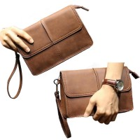 Man Classic Brown Cool Leather Hand Carry Clutch Bag MC383 YY