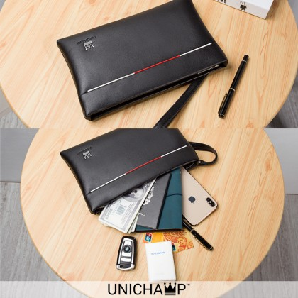 [Unichamp] MC380 Man Exquisite Black Leather Kangaroo Hand Carry Clutch Beg Men Bag MWB
