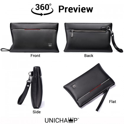 Man Exquisite Black Leather Kangaroo Hand Carry Clutch Bag mc380