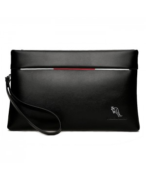 Man Exquisite Black Leather Kangaroo Hand Carry Clutch Bag mc380 E1 (Free Gift)
