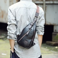 Man Superior Leather Chest Pouch Bag / Delicate Design Trending Fashion Crossbody Bag MC384 E3 (Free Gift)