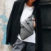 Man Swift Design Elegant Slim Urban Chest Pouch Leahter/Canvas Bag mc385 E3