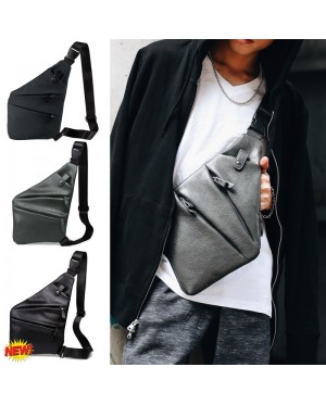Man Swift Design Elegant Slim Urban Chest Pouch Leahter/Canvas Bag mc385 E3