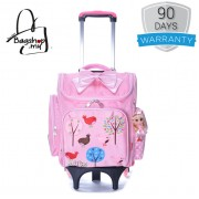 Girl Quality Nylon Square Box Design Natural Forest Pink 6 Wheels Primary School Trolley Backpack MC388 pk2 (Free Gift)