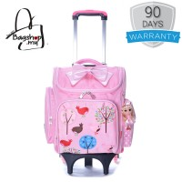 Girl Quality Nylon Square Box Design Natural Forest Pink 6 Wheels Primary School Trolley Backpack MC