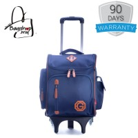 Boy Cool Dark Blue Quality Material Heavy Duty Trending Box Design 6 Wheels Primary School Student Trolley Backpack mc389 PK2 (Free Gift)