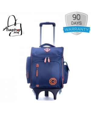 Boy Cool Dark Blue Quality Material Heavy Duty Trending Box Design 6 Wheels Primary School Student Trolley Backpack mc389 PK2 (Free Gift)