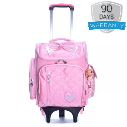 MC387 Girl Quilted Nylon Square Box Plain Design 6 Wheels Primary School Trolley Backpack