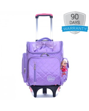 Girl Quilted Nylon Square Box Plain Design 6 Wheels Primary School Trolley Backpack MC387 YS1