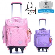 Girl Quilted Nylon Square Box Plain Design 6 Wheels Primary School Trolley Backpack MC387 pk1 (Free Gift)