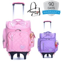Girl Quilted Nylon Square Box Plain Design 6 Wheels Primary School Trolley Backpack MC387 RA3