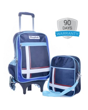 Elegant Hard Quality Nylon Strong Structure 6 Wheels Primary School Student Trolley Backpack MC390 (Free Gift)