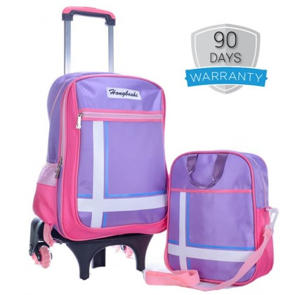 MC390 Elegant Hard Quality Nylon Strong Structure 6 Wheels Primary School Student Trolley Backpack