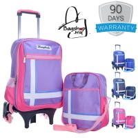 Elegant Hard Quality Nylon Strong Structure 6 Wheels Primary School Student Trolley Backpack MC390 YS4