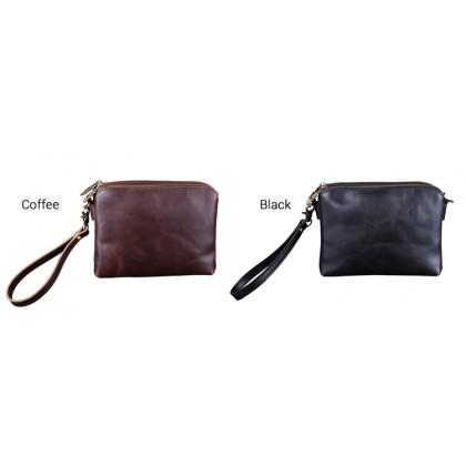 MC394 Man Coffee Black Mini Urban Design Korean Hand Carry Large Wallet Sling Bag