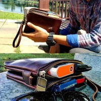 Man Coffee Black Mini Urban Design Korean Hand Carry Large Wallet Sling Bag mc394 (Free Gift)