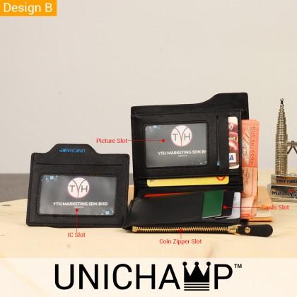 [Unichamp] MC408 Man Black / Coffee Leather Short Wallet WAB