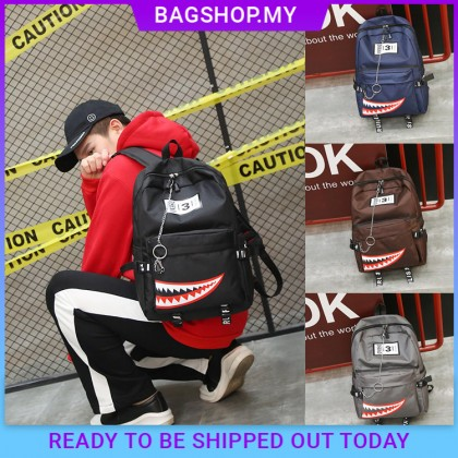 MC396 Unisex New Trend Stylish Shark Nylon Fashion Backpack