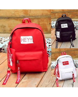 Girl New Fashion Trend Simple Design Long Zipper Strips Nylon Backpack mc398 A4 (Free Gift)