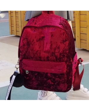 Girl Smooth Texture Fur Shinny Fabric Casual Daily Backpack MC400 YD1