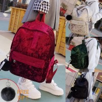 Girl Smooth Texture Fur Shinny Fabric Casual Daily Backpack MC400 RA3