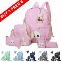Girl 6 in 1 Durable Canvas Convenient Daily College School Backpack mc404 YL1