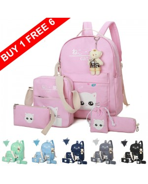 Girl 6 in 1 Durable Canvas Convenient Daily College School Backpack mc404 FK2 (Free Gift)